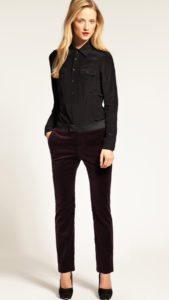 Бархатные брюки с черной рубашкой