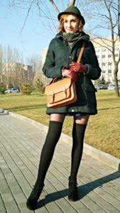 Дафлкот с мини-юбкой