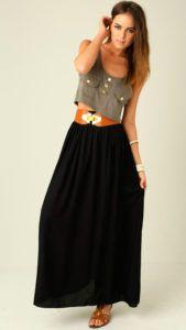 С чем носить длинную прямую юбку