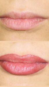 Татуаж губ до и после растушевки