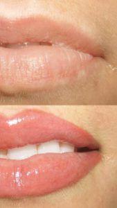 Татуаж губ до и после с растушевкой